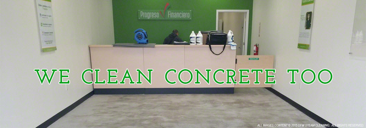 Concrete cleaning dallas fort worth plano frisco seal for Cleaning stained concrete floors steam mop